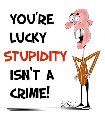 'YOU'RE LUCKY STUPIDITY ISN'T A CRIME!'