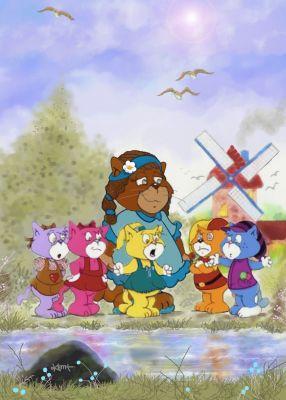 Mama Boomi and her kittens Vissy, Cissy, Missy, Yacker and Zimmer Boomi